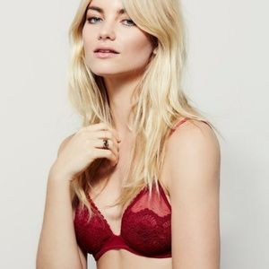 Free People Berry Wine Lace Triangle Bra 34D